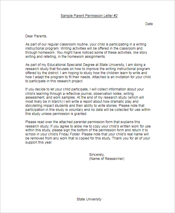 Sample Parent Permission Letter Template
