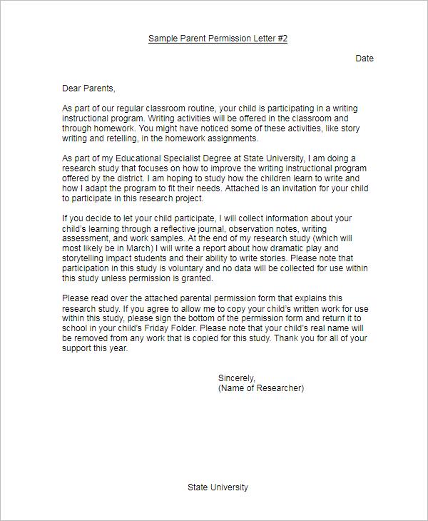 Sample Parent Permission LetterTemplate