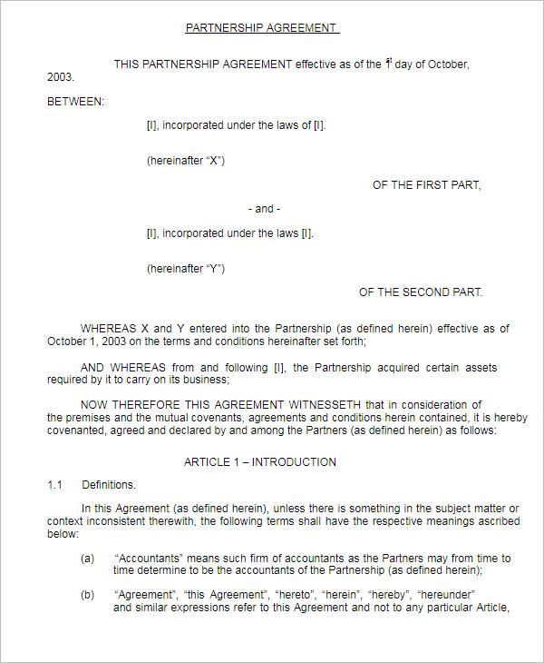SamplePartnership Agreement Form