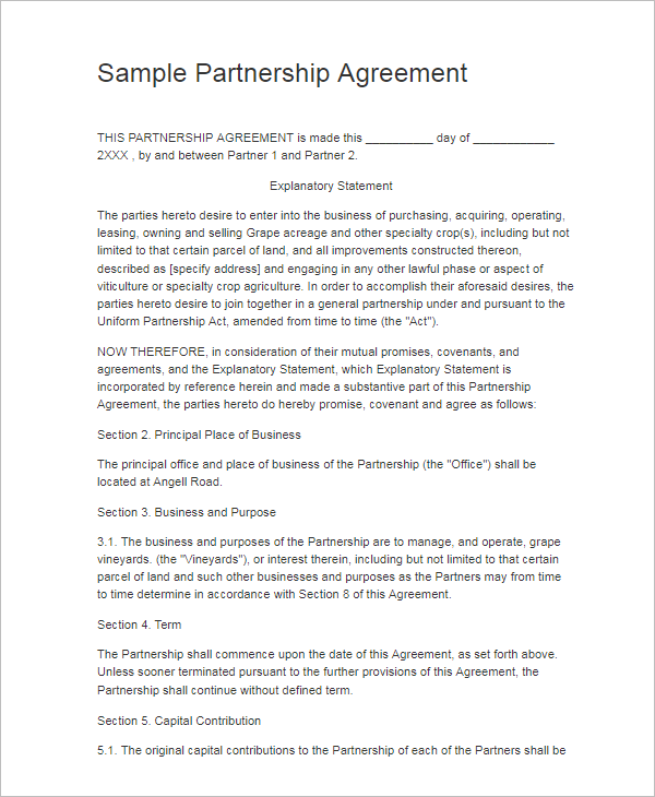 Free Partnership Agreement Templates Word PDF Format Samples - Generic partnership agreement template
