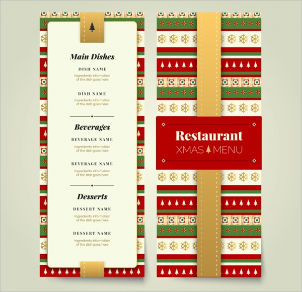 Sample Party Menu Card Design Example
