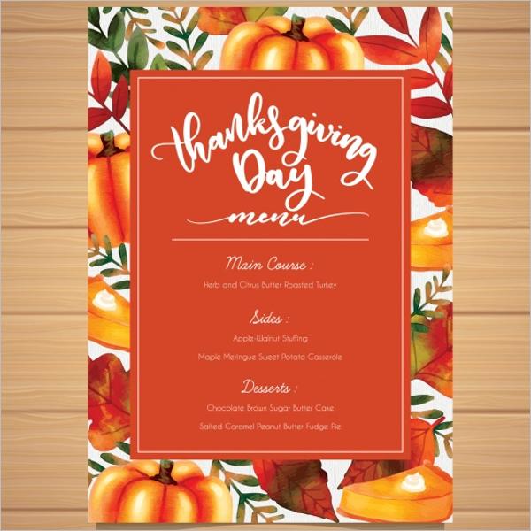 Sample Thanksgiving Menu Template