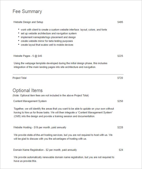 Sample Website Proposal Template