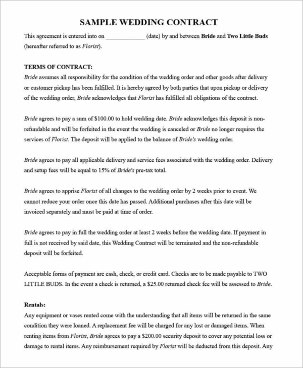Sample Wedding Contract Template  Contract Paper Sample