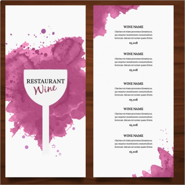sample wine drink menu design