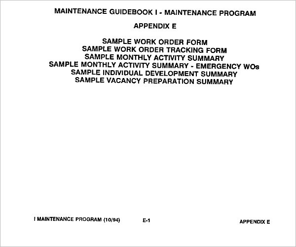 Sample Work Order Form Template