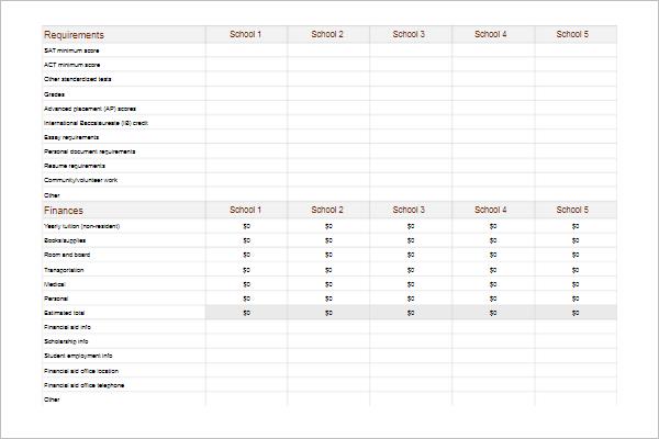 School Comparison Chart Template