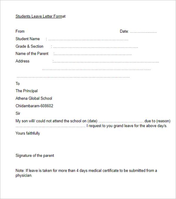 School Leave Letter Template