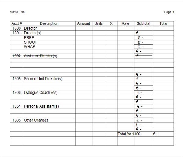 Short Film Budget Template