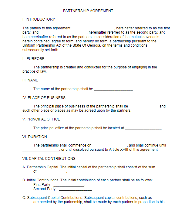 Simple Partnership Agreement Template