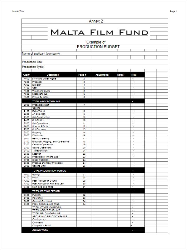 Niedlich Independent Film Budget Vorlage Fotos - Beispiel ...
