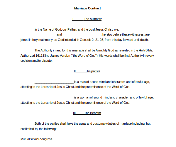 Standard Marriage Contract Template