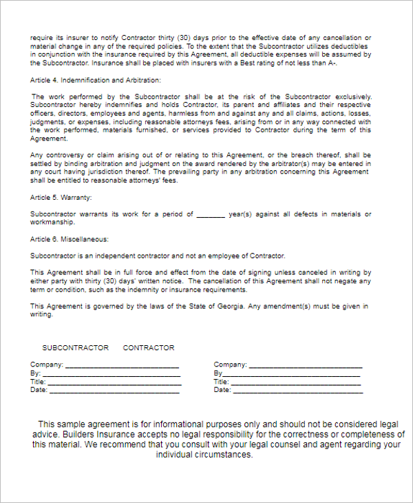 Subcontract Agreement For Civil Work