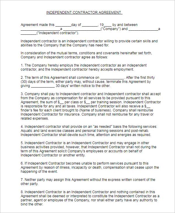 Subcontractor Agreement Format