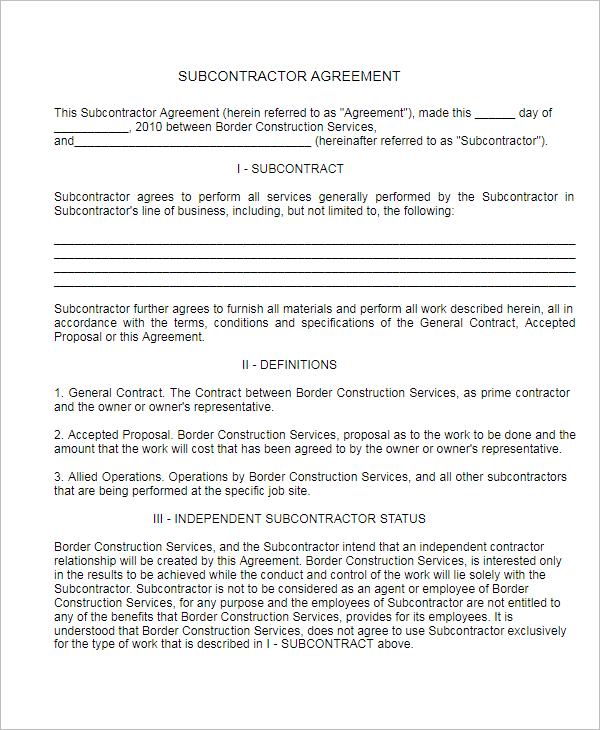 Subcontractor Agreement PDF Template