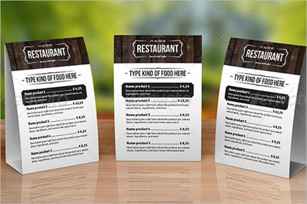 Table Tent Menu Card Design