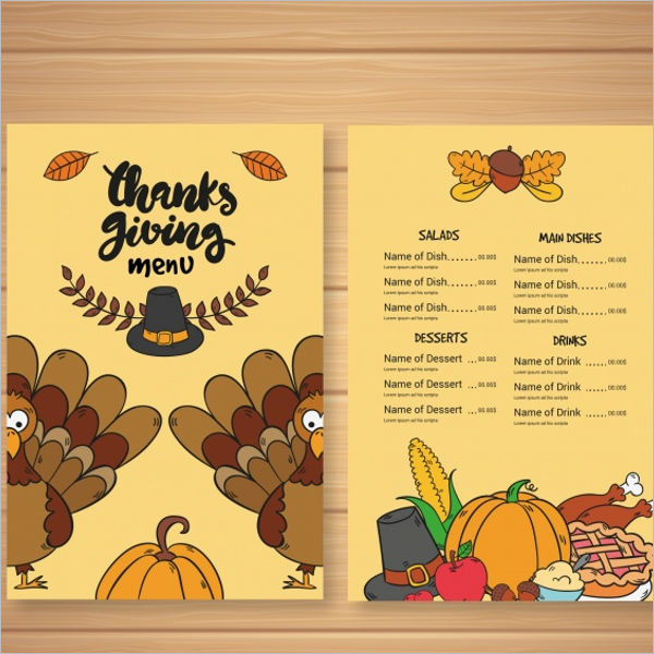 Thanksgiving Celebrations Menu Free Vector