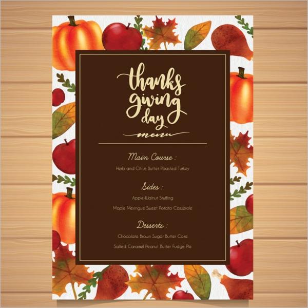 Thanksgiving Celebrations Menu Idea