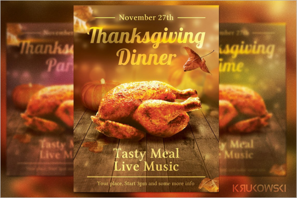 Thanksgiving Dinner Menu Card Flyer