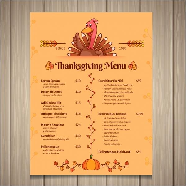 Thanksgiving Menu Card Design