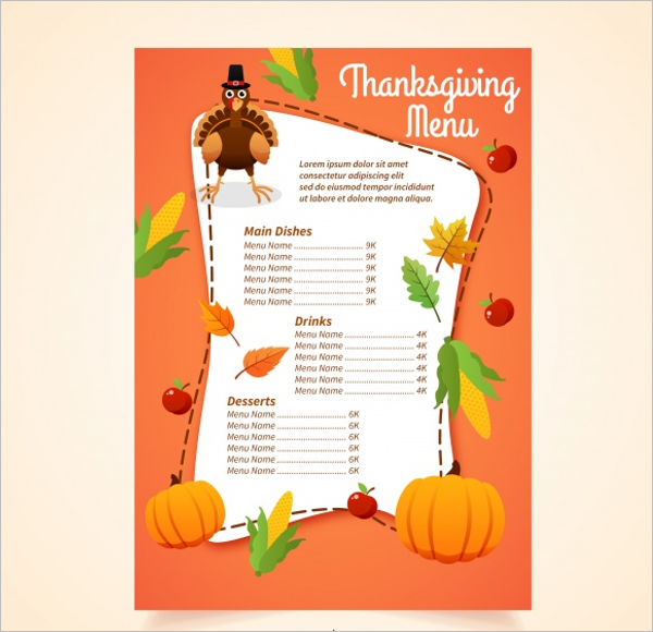 Thanksgiving Party Menu Card Design