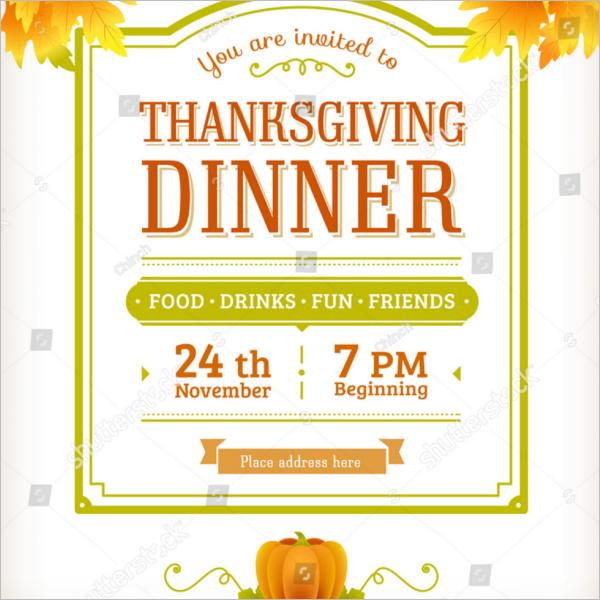 Thanksgiving Party Menu Design