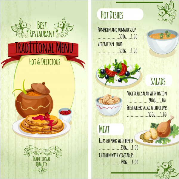 Traditional Food Menu Card Design Free