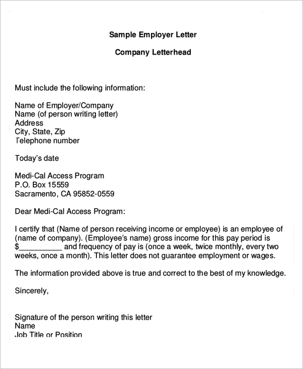 Verification Of Income Letter Template