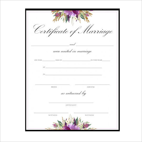 Vertical Marriage Certificate Template
