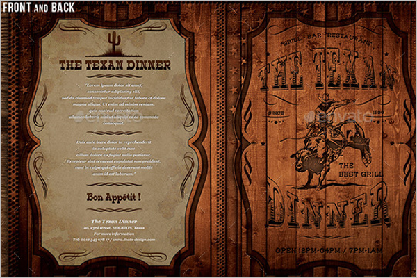 Vintage Menu Card Template