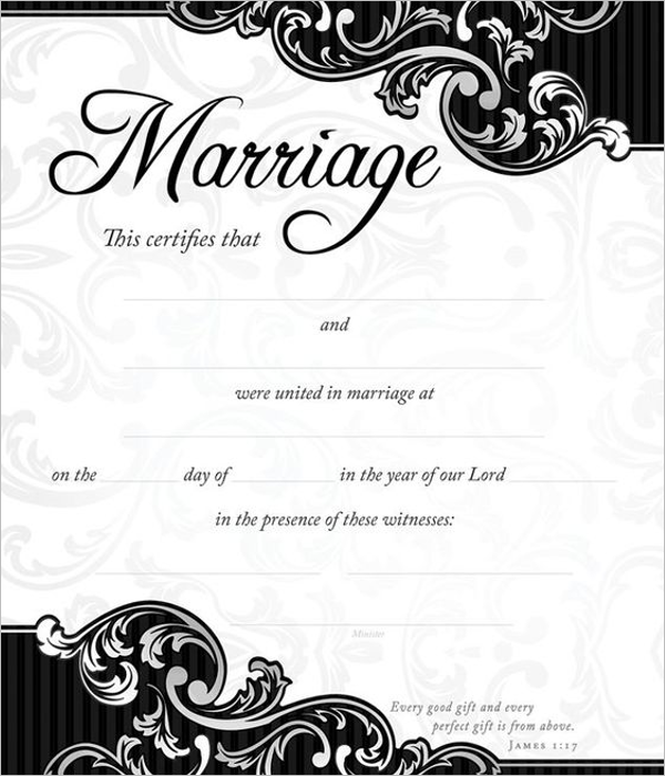 Wedding Certificate Format