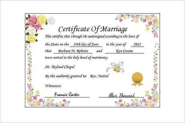 Wedding Certificate Template Free