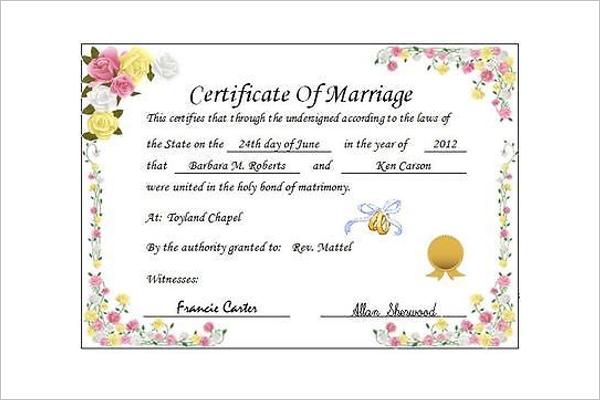Wedding Certificate Template Free