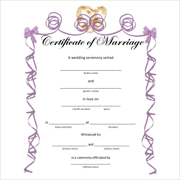 Wedding Certificate Template Word