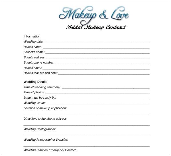 Wedding Makeup Contract Templat