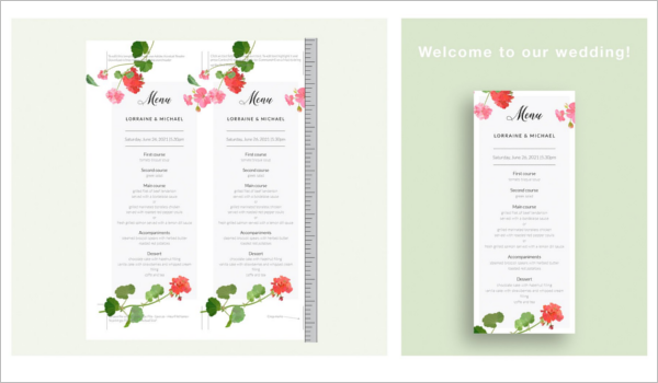 Wedding Menu Card PSD Design