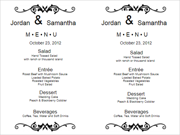 Wedding Menu Template Word  Free Menu Templates For Word