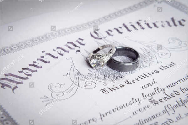 Wedding Rings With Marriage Certificate