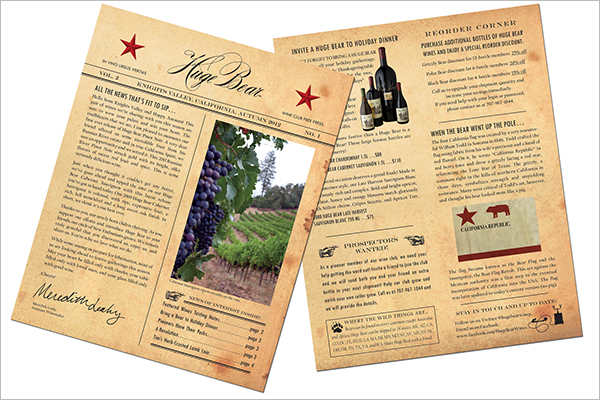 Wine Newsletter Brochure Template