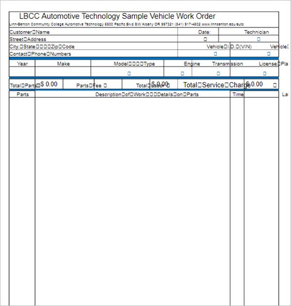 Work Order Format Excel