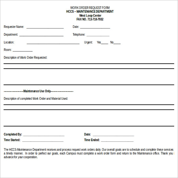 Work Order Request Form Template