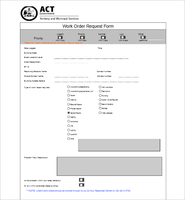 Work Order Request Template