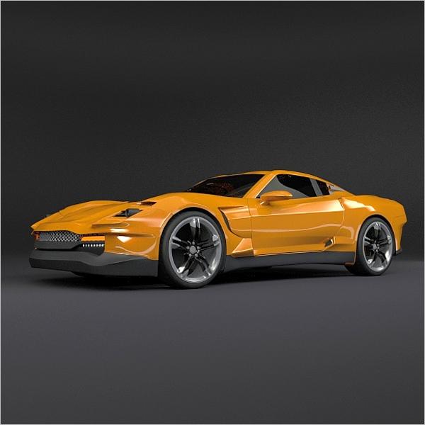 Yellow sports car Design