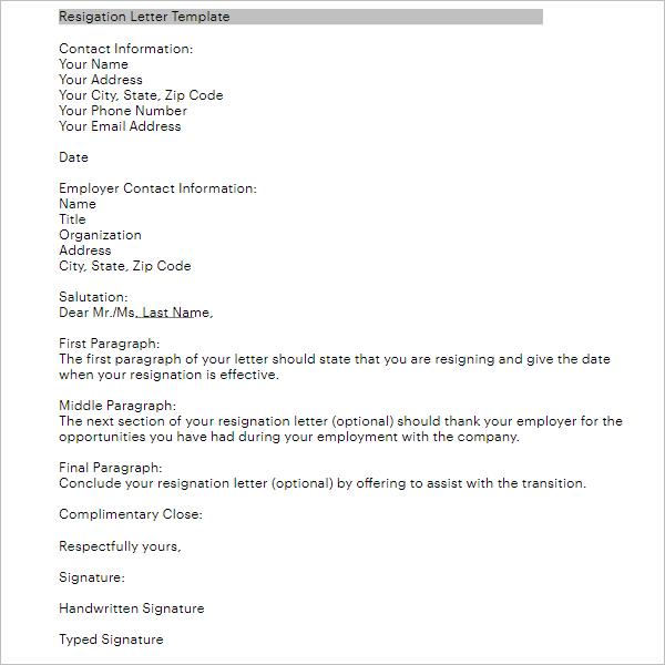 10 Formal Resignation Letter Format