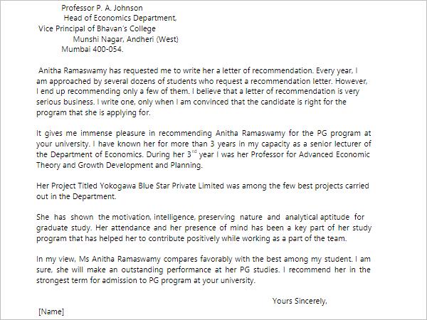 2 SampleRecommendation Letter Template