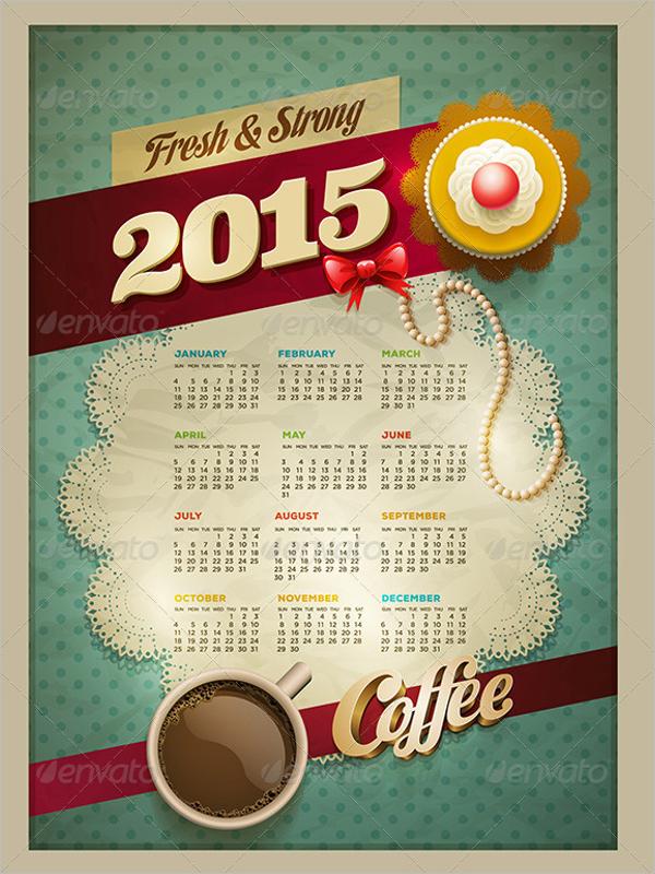 2015 Calendar Template PSD