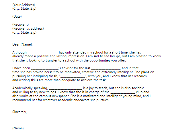 3 Recommendation Letter For Transfer