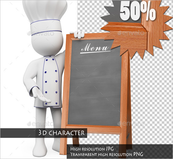 3D Chef With Blank Menu