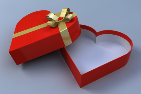 3D Heart Shaped Gift Box Design