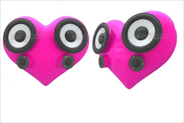 3D Heart Shaped Speaker Model